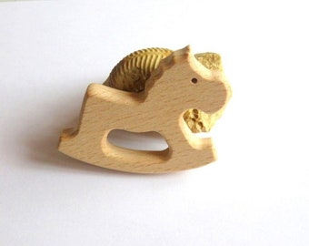 Wooden teething ring natural horse