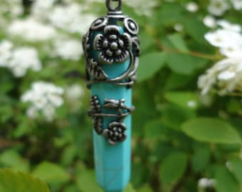 """Necklace pendant """"Obelisk"""" in the flowers, synthetic turquoise"""