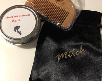 Beard and Mustache Balm and Comb set