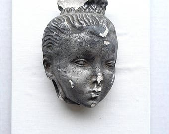 1920s-30s Plaster Head, Mythological, Silver - Distressed Plaster Head, Female, Some Damage, Hang on Wall
