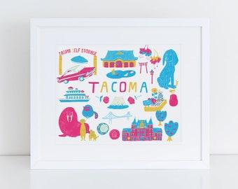 "8""x10"" Giclee Art Print, Tacoma City Art, Washington State Art, Pacific Northwest, Graduation Gift, Tacoma Historic Sites, Wall Art"