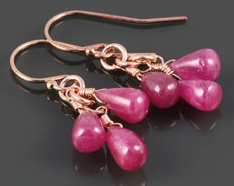 Ruby Cluster Earrings. Three Stones. Rose Gold Filled Ear Wires. Genuine Ruby. July Birthstone. s17e029