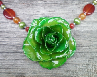 Free Shipping REAL Emerald Green ROSE and Carnelian and Pearls Sterling Silver Statement Necklace