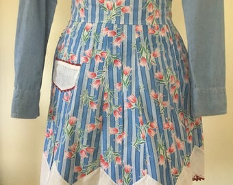 Vintage blue apron with tulips