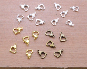 100pcs Heart lobster claw clasps self closing silver plated clasp.