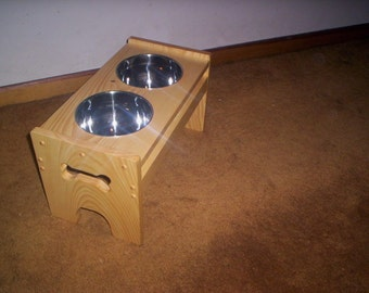 "Elevated  Dog feeder handcrafted 9 1/2"" high bowls"