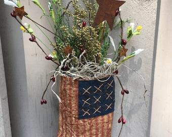 Primitive Door Accent , American Flag Ornament , Primitive Americana Door Hanger