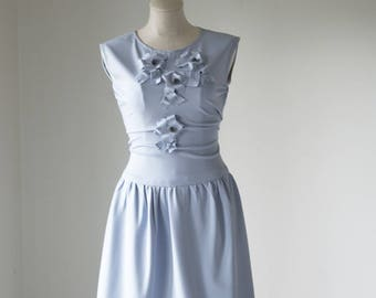 Pom Pom Dress Pale Blue / Special Occasion Dress / Wedding Guest Dress / Thanksgiving Dress / Holiday Dress/Limited Quantities