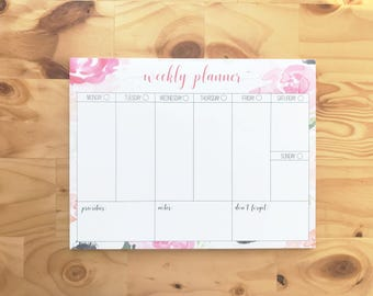 Floral Weekly Planner | Floral Watercolo Weekly Planner Notepad | To-do List | Agenda | Memo Pad