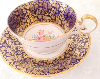 Vintage Aynsley English Fine Bone China Cobalt Blue and Gold Tea Cup and Saucer Duo - c. 1934 - 1950s
