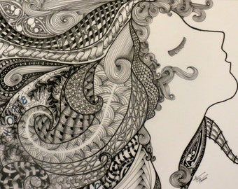 """Zentangle Inspired Art """"These Three Abide""""  8 X 10 Matted Print"""