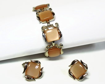 Moonglow Thermoset Bracelet and Clip Earring Demi Parure in Sandstone Beige Color Set in Silver - Vintage 50's Costume Jewelry Set
