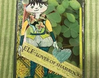 Shamrock Elf ACEO Collage