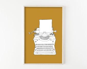 """typewriter art, typewriter print, vintage typewriter, mid century modern art, mid century modern wall art, minimalist - """"Typewriter No. 3"""""""
