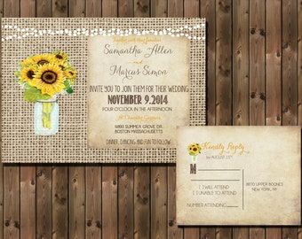 Sunflower Rustic Wedding Invitation with Lights Mason Jar and Burlap Background, Digital File _1296