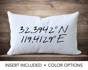 Latitude Longitude Pillow custom coordinates coordinate pillow wanderlust travel gift personalized lumbar pillow housewarming gift new home