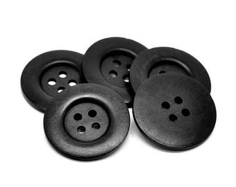 "Extra large button - 3 black wooden buttons 50mm (2"") (BB151Z)"