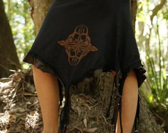 Realming Skirt- festival skirt/pixie skirt/doof skirt/printed skirts/festival clothing/pixie clothing/hippie skirt/boho/sacred creations