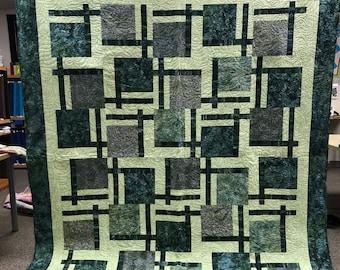 Big Green Batik Quilt by QuiltTrends