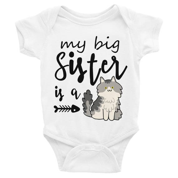 Funny Baby Onesie ® , Little Sister Onesie, My Big Sister is a Cat, Funny Baby Clothes, Funny Baby Shirts, Baby Onesie, Funny Onesie