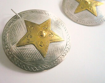 Large silver star earrings Big star earrings Mixed metal silver and gold Lightweight Vintage sterling dangles Country western Cowboy earring