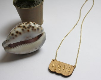 Wooden cloud necklace, rain gold color, fairy chic minimal jewellry, poetic weather trendy jewel, perfect woman present, hand-made in France