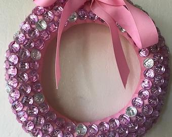 Pink Button Wreath