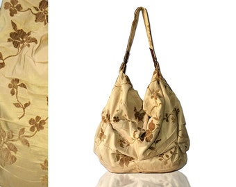 women bag in suede and cotton floral pleated fabric, fashion summer tote bag 2016, made in italy