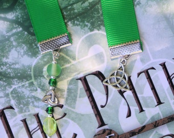 Celtic Path of the Druid Triquetra Ribbon Beaded Bookmark