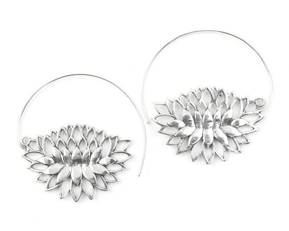 Blooming Lotus Flower Earrings, Brass Lotus, Silver Lotus, Tribal Brass Earrings, Festival Jewelry, Gypsy Earrings, Ethnic, Yoga Earrings