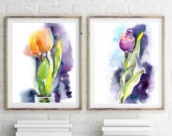 Tulip art prints set, set of 2 prints, flower art print, bright colors wall art, wateroclour painting wall art, modern botanical art print