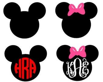 Mouse Ears instant download cut file - SVG DXF EPS ps studio3 studio (monogram font sold separately)