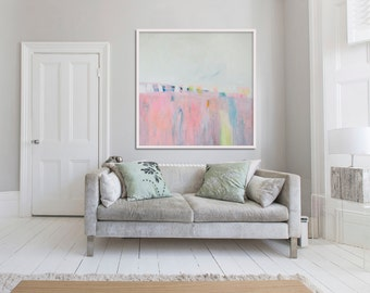 "Large pink print,Giclée print of abstract painting, expressionist, modern, ""PInk Landscape series iii"""