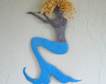 Metal Mermaid Wall Art Sculpture Recycled Metal Indoor Outdoor Wall Decor Beach House Bathroom Wall Art Turquoise Blue 19 x 13