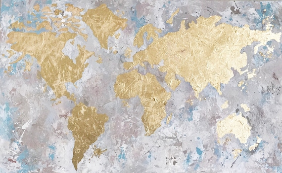 World map painting gold leaf art gold leaf painting world map painting gold leaf art gold leaf painting painting on canvas world map art map of the world world map decor gold foil art gumiabroncs Gallery