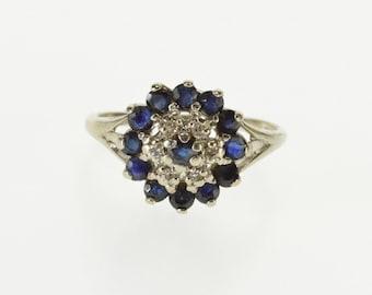 10k Round Sapphire Diamond Halo Cluster Statement Ring Gold