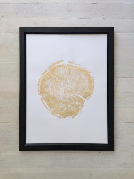 Gold Tree Rings, Real Tree Stump Art, woodcut art print, tree slice, Gold Wedding ideas, Gold art, Gold art print, Gold decor, Gold wood art