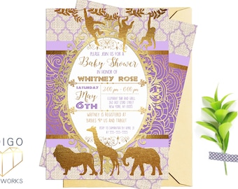 Purple and Gold Safari Baby Shower Invitation, African Animals Printable Party Invitation, Purple and Gold foil, Customized Digital Invite
