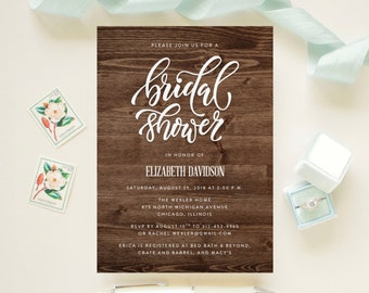 Rustic Bridal Shower, Luncheon, Brunch Invitation Wood Country Barn Design  // String Lights, Garden, Floral // Printed Cards and Envelopes