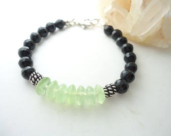 Black Onyx Bracelet with Prehnite or Aquamarine Black Bracelet Stackable Bracelet Beaded Bracelet Gemstone Bracelet Sterling Silver Bracelet