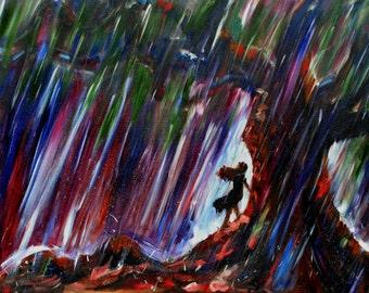 Safe Place-FINE ART PRINT Contemporary Rain Tree Oil Painting