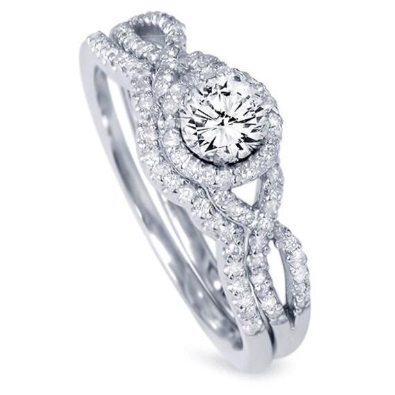 diamond 70ct infinity engagement ring wedding band set matching crossover 14 karat white gold - Engagement Ring Wedding Band Set