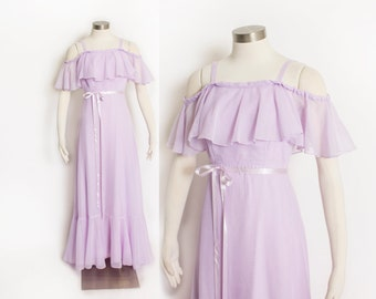 Vintage 1970s Dress - Lavender Purple Off-The-Shoulder Cotton Blend Full Length Maxi Gown 70s - Extra Small XS