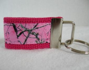 Pink Camo Key Fob - Small Camo Key Ring - Camouflage Keychain - Mini Key Fob - Woodland Zipper Pull