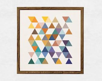 Triangles 2. Geometric print Triangles print Scandinavian print Mid century art triangles poster geometric poster mid century print