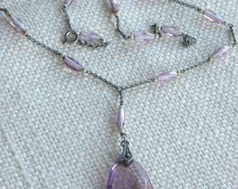 vintage Crystal Glass drop pendant necklace PURPLE ~ LILAC ~ lovely~inA1009