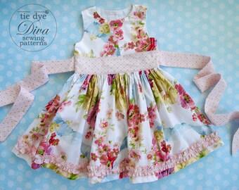 Girls Dress Pattern - Perfect Party Dress - Classic Girls Dress Pattern with Sash - PDF Girls Dress Pattern