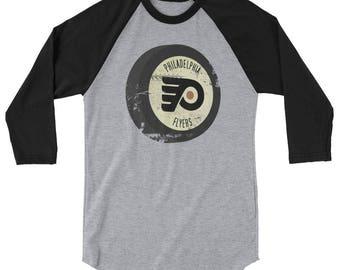 Retro Philadelphia Flyers Puck Inspired 3/4 sleeve raglan shirt