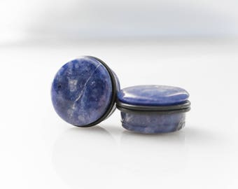 "Blue Sodalite Single Flare Stone Plugs - 6g, 4g, 2g, 0g, 00g, 7/16"", 1/2"", 9/16"", 5/8"", 3/4"", 7/8, 1"""