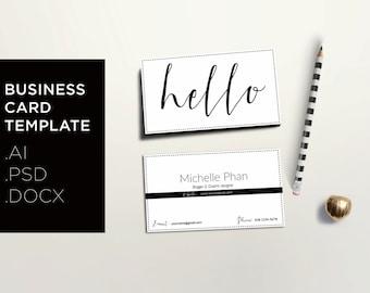 Modern business card template / Creative calling card / Minimal business card design / Black & white business card